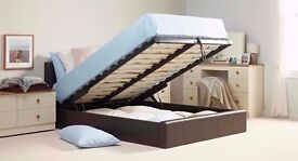 FREE DELIVERY == SMALL DOUBLE == DOUBLE FAUX LEATHER OTTOMAN STORAGE BED FRAME BLACK OR BROWN