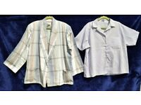 "Vintage Blues & Sandy Browns Cheque Suit Jacket C53"" & Blue + White Stripy Shirt C50"""