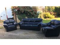 3 seater and 2 Armchairs Black Original Leather Designer Sofa Set FREE DELIVERY Local