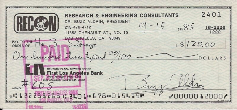 Buzz Aldrin signed cancelled check (9/15/85)