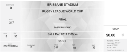 1 x Rugby League World Cup Final Ticket Suncorp Stadium Brisbane