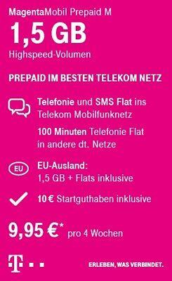 Magenta Mobil Start M Telefon & Internet 1,5 GB Prepaid 10€Guthaben D1 Telekom