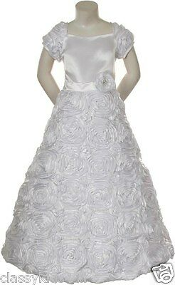 Girl Pageant Dress Bridal Formal First Communion White Dress Size 4 6 8 10 12