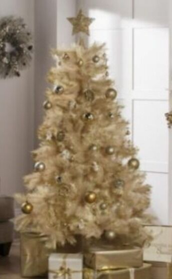 champagne gold christmas tree and decorations