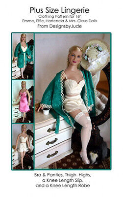 Lingerie & Robe Doll Clothes Sewing Pattern for Emme Hortencia Tonner