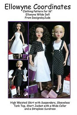 """Coordinates Doll Clothes Sewing Pattern for 16"""" Ellowyne Wilde, Tonner"""