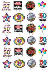 24-HAPPY-50TH-BIRTHDAY-EDIBLE-CUPCAKE-FAIRY-CAKE-TOPPERS-STAND-UPS