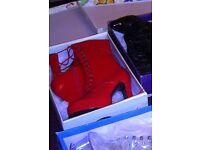 Red calf boots size 9