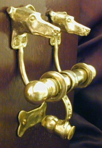 GREYHOUND / WHIPPET Bronze DUET Door Knocker