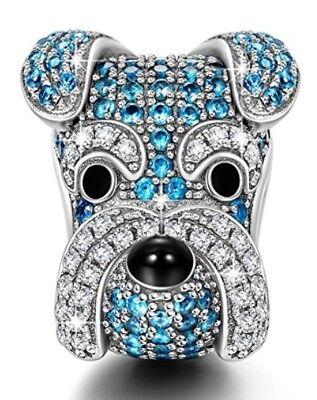 Schnauzer Dog Blue Crystal Sterling Silver  European Charm for Pandöra Bracelet