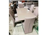 Brown glass table & 6 leather chairs