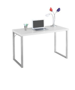 BRAND NEW White and Silver Desk - NIB - In Box - Modern