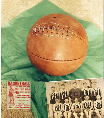 1915  Old  Antique Style Leather Basketball   Naismith Style Distresed Tan