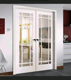 Internal Double Doors Glazed (Manhattan in white) 60 x 78