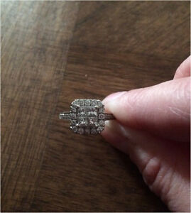 beautiful wedding set/ engagement ring white gold 1.50 CT.