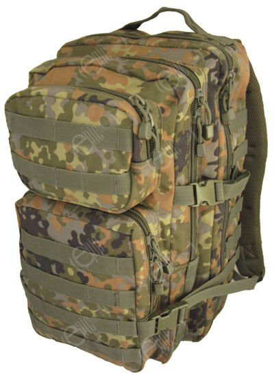 Flecktarn Camo Molle Rucksack Assault Large 36l Backpack Tactical Army Day Pack