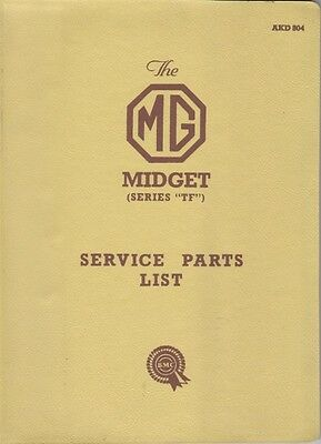 MG MIDGET SERIES TF ORIGINAL BMC SERVICE PARTS LIST AKD 804 SECOND EDITION 1958