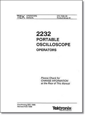 Tektronix 2232 Operators Manual Comb Bound Protective Plastic Covers