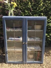 Painted vintage rustic glass cabinet