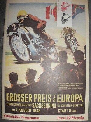 RENNPROGRAMM SACHSENRING 1938 GROSSER PREIS VON EUROPA HOHENSTEIN ERNSTTHAL TOP