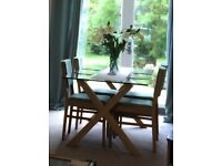 Oak Glass Top Dining Table