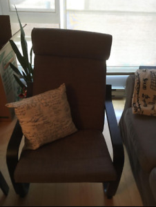 Brown IKEA POANG armchair