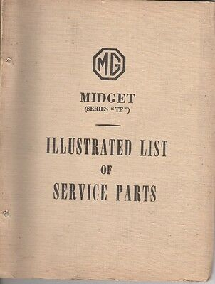 MG MIDGET SERIES TF ORIGINAL FACTORY ILLUSTRATED SERVICE PARTS LIST MAY 1954
