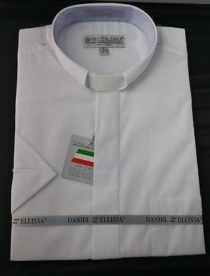 New Daniel Ellissa White Tab Collar Short Sleeves Pastor Christian Clergy Shirt
