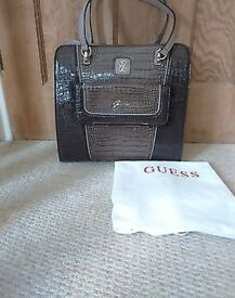 Vintage Style Designer Guess Bag in a Faux Crocodile Skin Effect