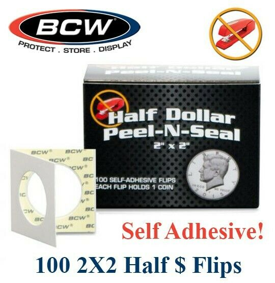 100 BCW Peel N Seal Self Adhesive 2x2 Half Dollar Coin Flip Holders 31.2mm Mylar