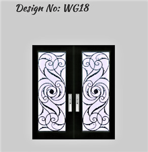 Wrought iron Glass Stained Glass Front door Glass inserts WG19