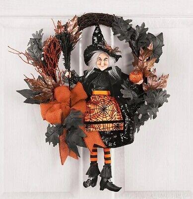 Orange Black Harvest Halloween Witch Door Wreath Wall Hanging Autumn Fall Decor
