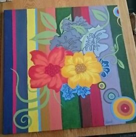 Large flower painting, oil on canvas, bright floral