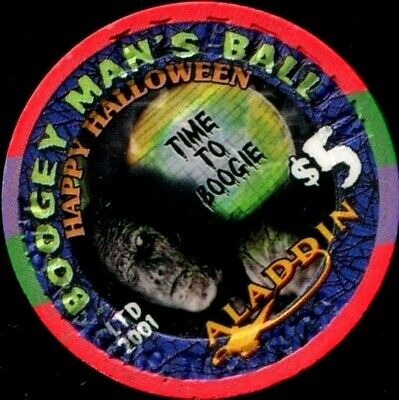 Vegas Halloween Ball ($5 Las Vegas Aladdin Halloween 2001 Boogey Man's Ball Casino Chip - Near Mint)