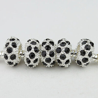 CRYSTAL SILVER SPACER EUROPEAN BIG HOLE CHARM LOOSE BEADS FINDINGS WHOLESALE on Rummage