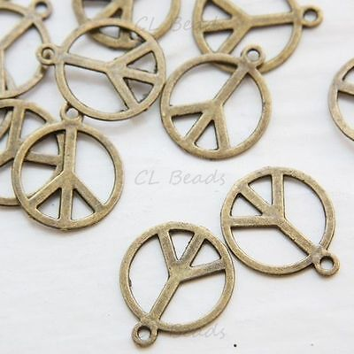 30pcs Antique Brass Base Metal Charms-Peace Sign 14mm (1941Y-B-300) Antique Brass Peace Sign