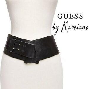 """NEW* GUESS HIP BELT WOMEN'S XS/SM LEATHER 4"""" WIDE BELT - WHITE 99694082"""
