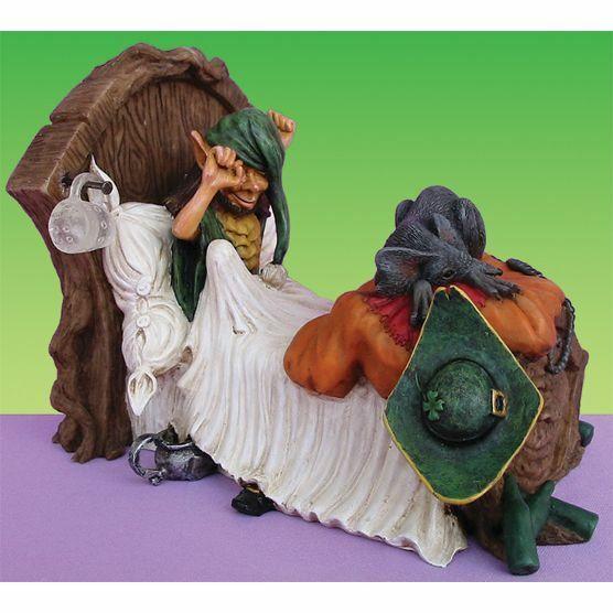 Miniature Fairy Garden Halloween Large Pixie in Bed w/ Rat Friend- Buy 3 Save $5