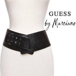 """NEW* GUESS HIP BELT WOMEN'S XS/SM - 99694082 - LEATHER 4"""" WIDE BELT - WHITE"""