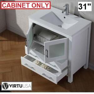 "NEW VIRTU USA 31"" VANITY CABINET KS-70032-CAB-WH 144627144 DIOR WHITE BATHROOM VANITY STORAGE BATH ORGANIZATION CABIN..."