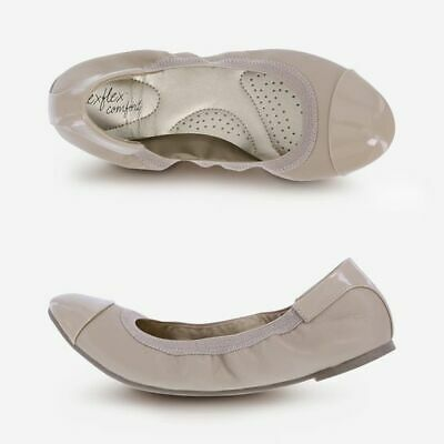 Dexflex Comfort Women's Claire Nude Scrunch Ballet Flat Shoes Medium or Wide