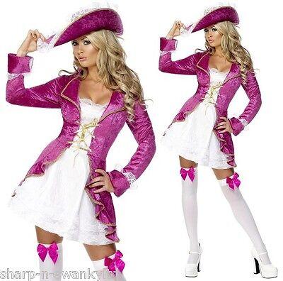 Damen Sexy Fever Pink Piratenprinzessin Party Kostüm Outfit UK 4-18