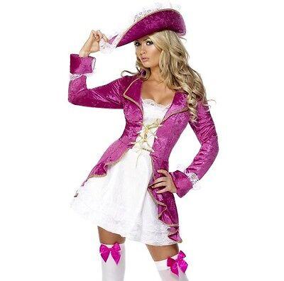 Damen Piraten Schatz Maskenkostüm Piraten Outfit Pink/Weiß von Smiffys