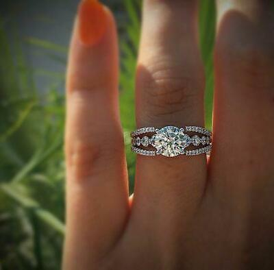 3.3Ct Round Cut Diamond Art Deco Solitaire Engagement Ring 14K White Gold Over
