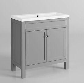 Modern Bathroom Vanity Unit Earl Grey Double Door Basin Cabinet - RRP £270