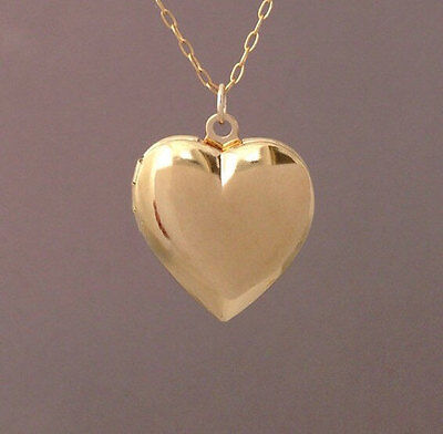 (LARGE Gold Heart Locket Pendant Necklace also in silver)