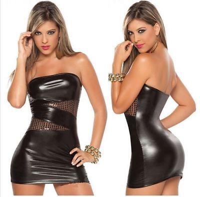 """Robe noire courte sexy moulante """"cuir"""" avec finition brillants + string (T.U.)"""