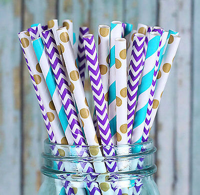 Charmed Mermaid theme Purple, Gold and blue paper straw in strip, dot, - Paper Straws Purple