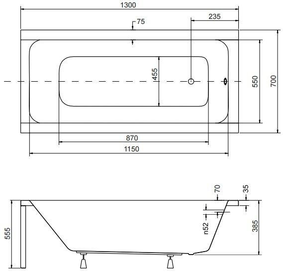 Badewanne Rechteck Acryl 120,130,140,150,160,170x70 Ablauf VIEGA Füße MODERN F 130x70