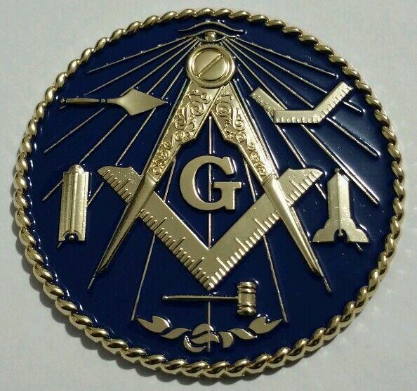 Masonic Working Tools Car Emblem with Dark Blue background